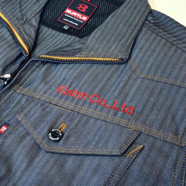 【インディゴ×赤】BURTLE春夏ジャケットの刺繍加工