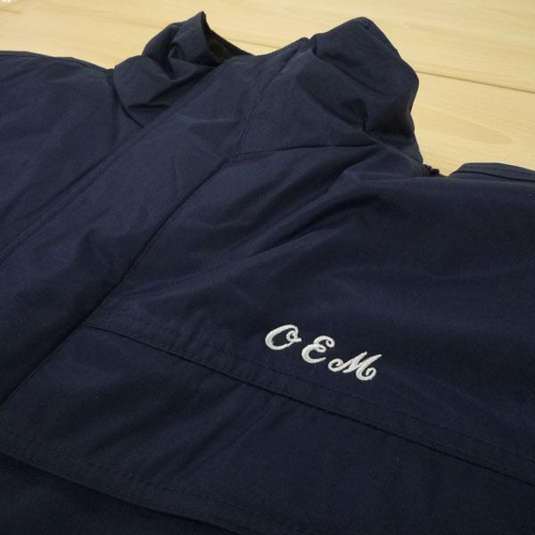 【ネイビー×銀】自重堂防水防寒コートへの刺繍加工