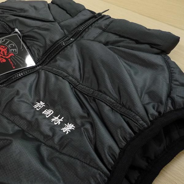 【ブラック×白】BURTLE防寒ベストの刺繍加工