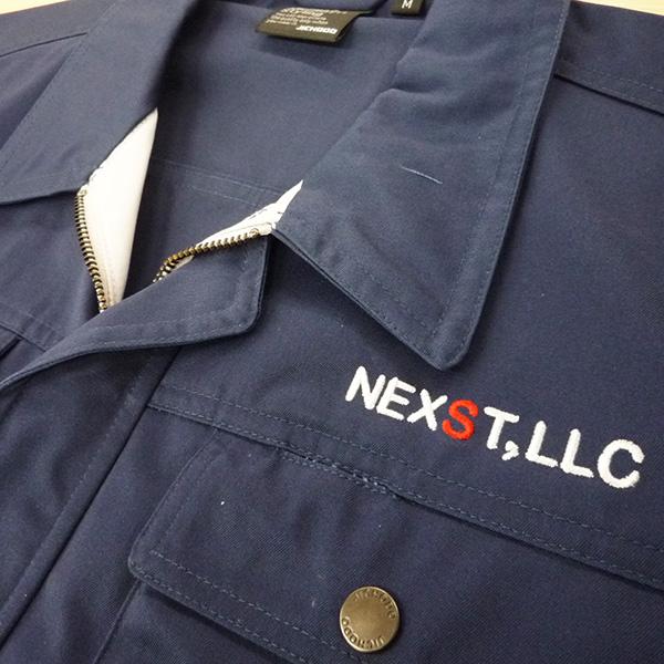 【ネイビー×銀】自重堂 半袖ブルゾンの刺繍加工