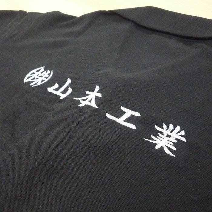 【ブラック×銀】BURTLE 半袖ポロシャツの刺繍加工
